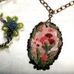 Pink Floral Necklace - Pin..